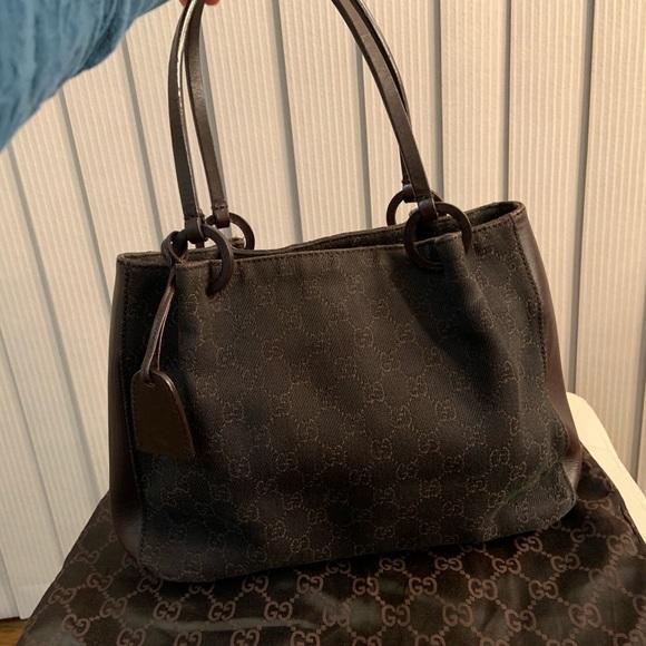 4498f11d715bb8 Gucci Bags   Vintage Gg Canvas Tote Bag Brown   Poshmark